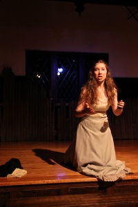 Katie Piner '16 as Juliet laments her fate By Hannah Degner '15, Photography Editor