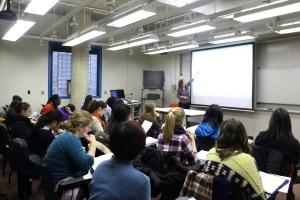 Professer Orit Shaer teaches a CS 230 Data Structures course by Pamela Wang '17 Staff Photographer